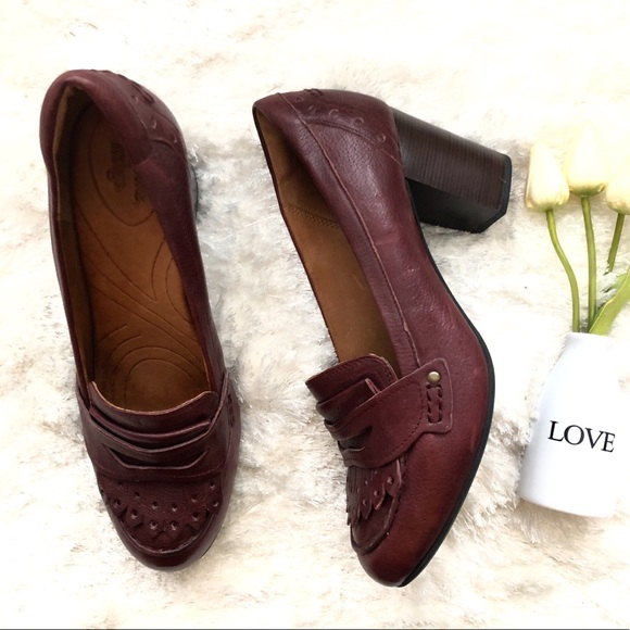 Burgundy Leather Heel Loafers